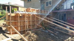 Demoing our Retaining wall