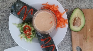 Spring Rolls in a coconut dipping sauce